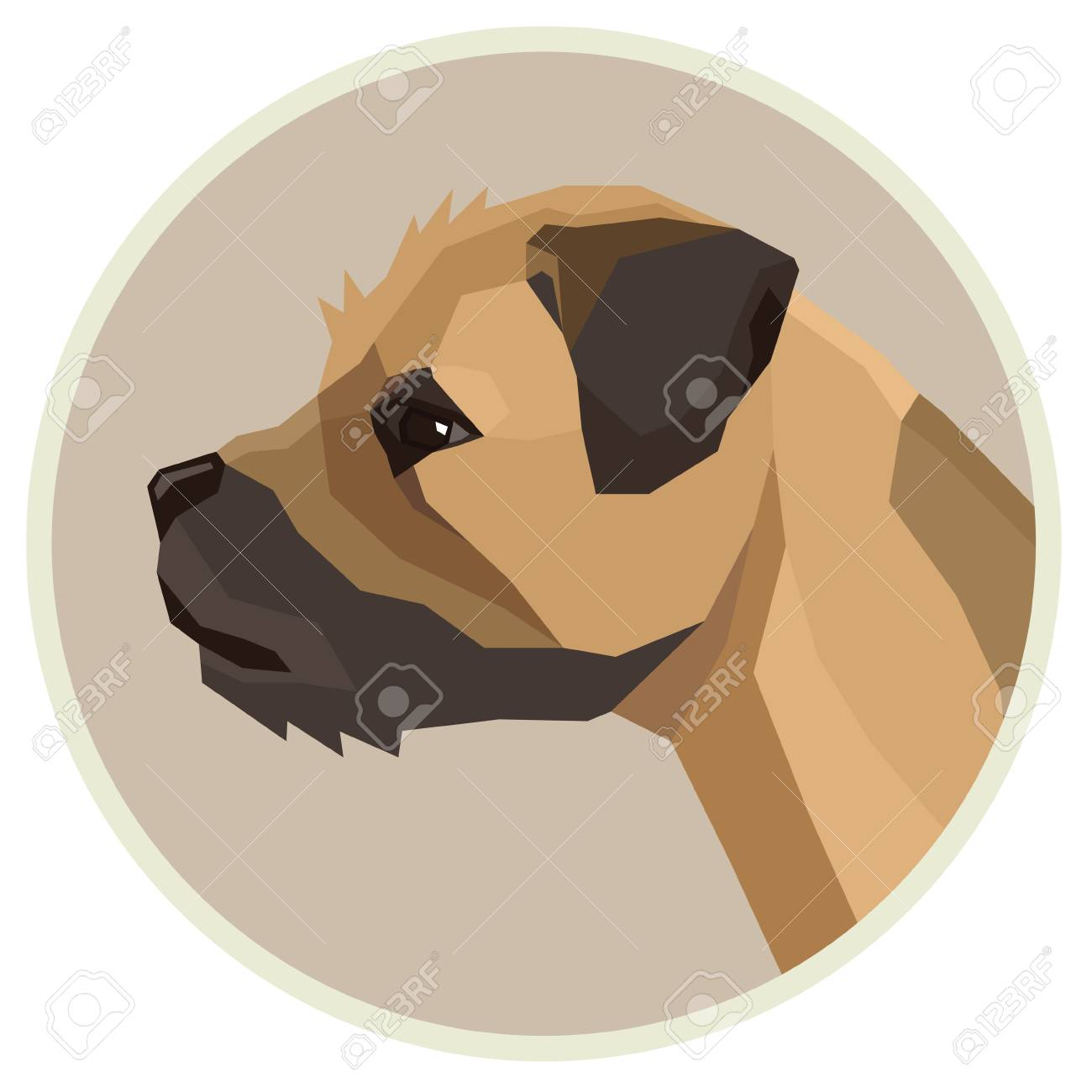 Dog collection Border Terrier Geometric style Avatar icon round...
