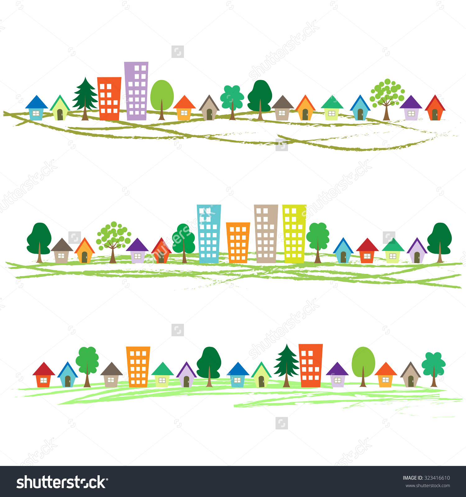 Town Borders Stock Vector 323416610.