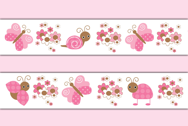 Butterfly Ladybug Wallpaper Border Wall Decals Pink Girl Sticker.