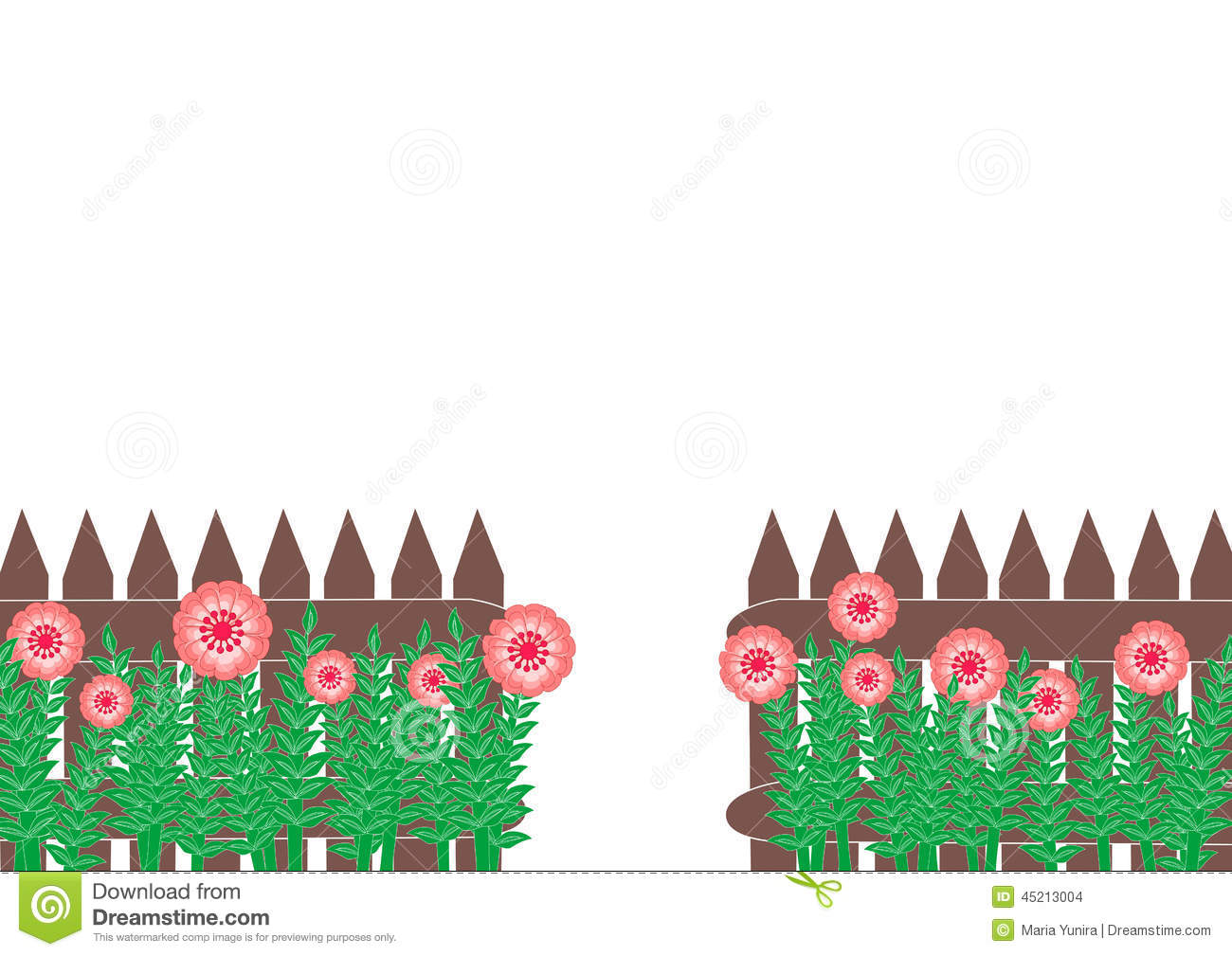 Fence And Flower Border Stock Illustration.