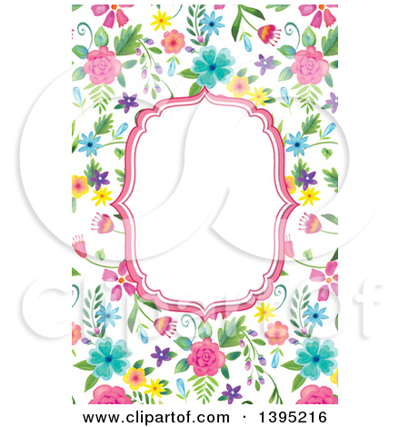 Clipart of a Pink Frame Bordered with Colorful Watercolor Flowers.