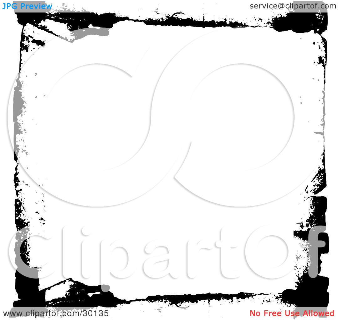 Clipart Illustration of Thin Black Grunge Lines Bordering White by.