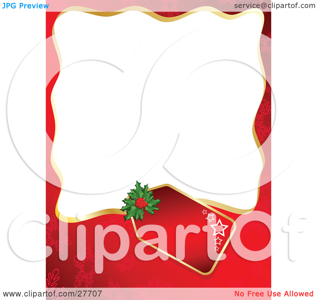 Clipart Illustration of a Red Snowflake Background Bordering A.