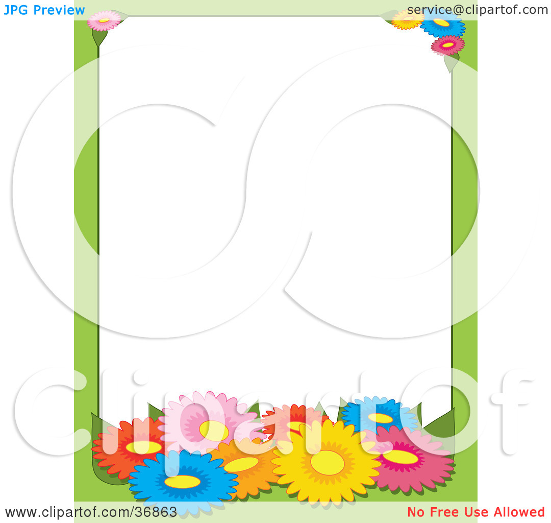 Clipart Illustration of a Green Border With Colorful Spring Daisy.