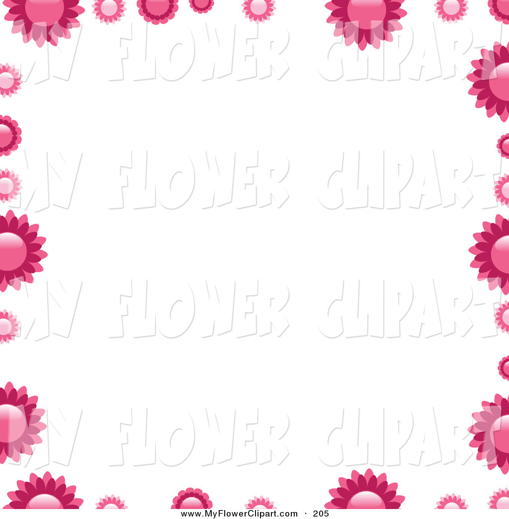 Clip Art of Pink Flowers Bordering a Solid White Background by.