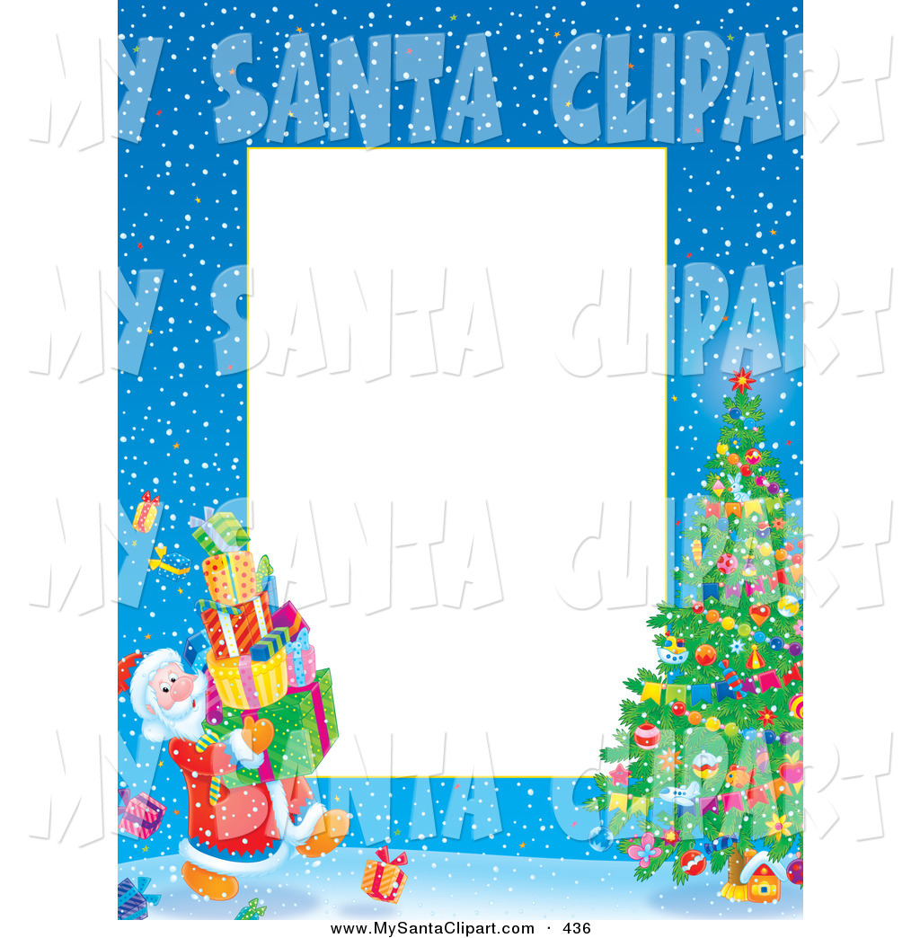 Christmas Clip Art of a Border of Santa Carrying Presents to a.