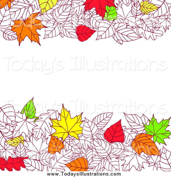 Clipart of Autumn Leaves Bordering Text Space by Seamartini.