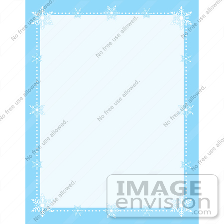 Clip Art Graphic of Snow and White Snowflakes Bordering a Blue.