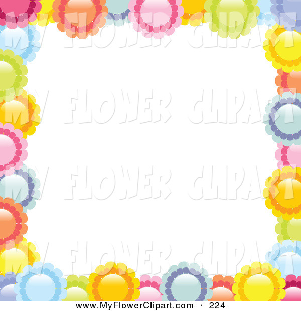 Clip Art of a Border of Colorful Pink, Yellow, Orange, Blue and.