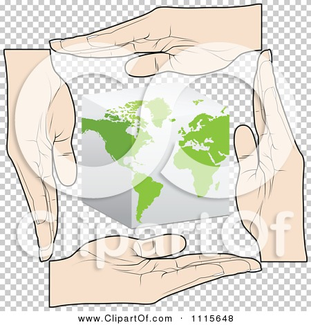 Clipart Hands Bordering A Cube Globe.