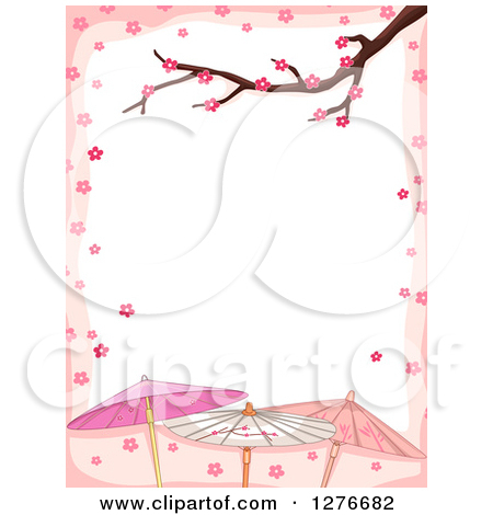 Clipart of a Branch and Cherry Blossoms Bordering White Text Space.