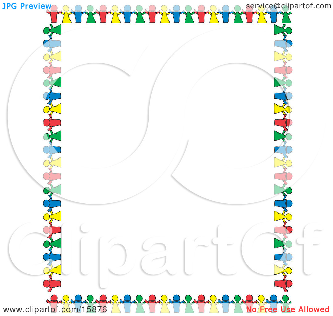 Stationery Border Of Colorful Paper Dolls Holding Hands And.