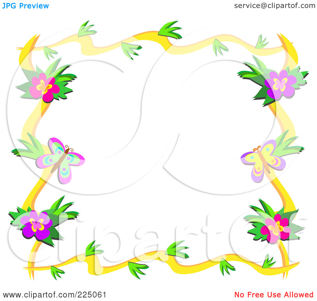 Bordering Butterflies And Flowers Clipart.