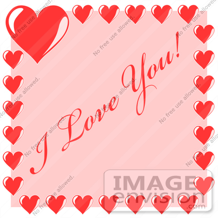 Clip Art Graphic of Purple Hearts Bordering I Love You Text On.