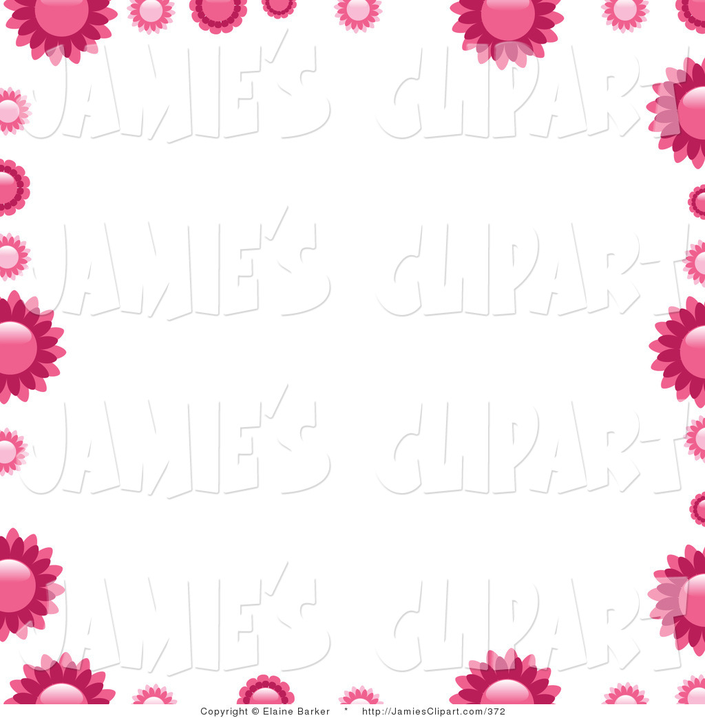 Clip Art of Pink Flowers Bordering a White Square Background by.
