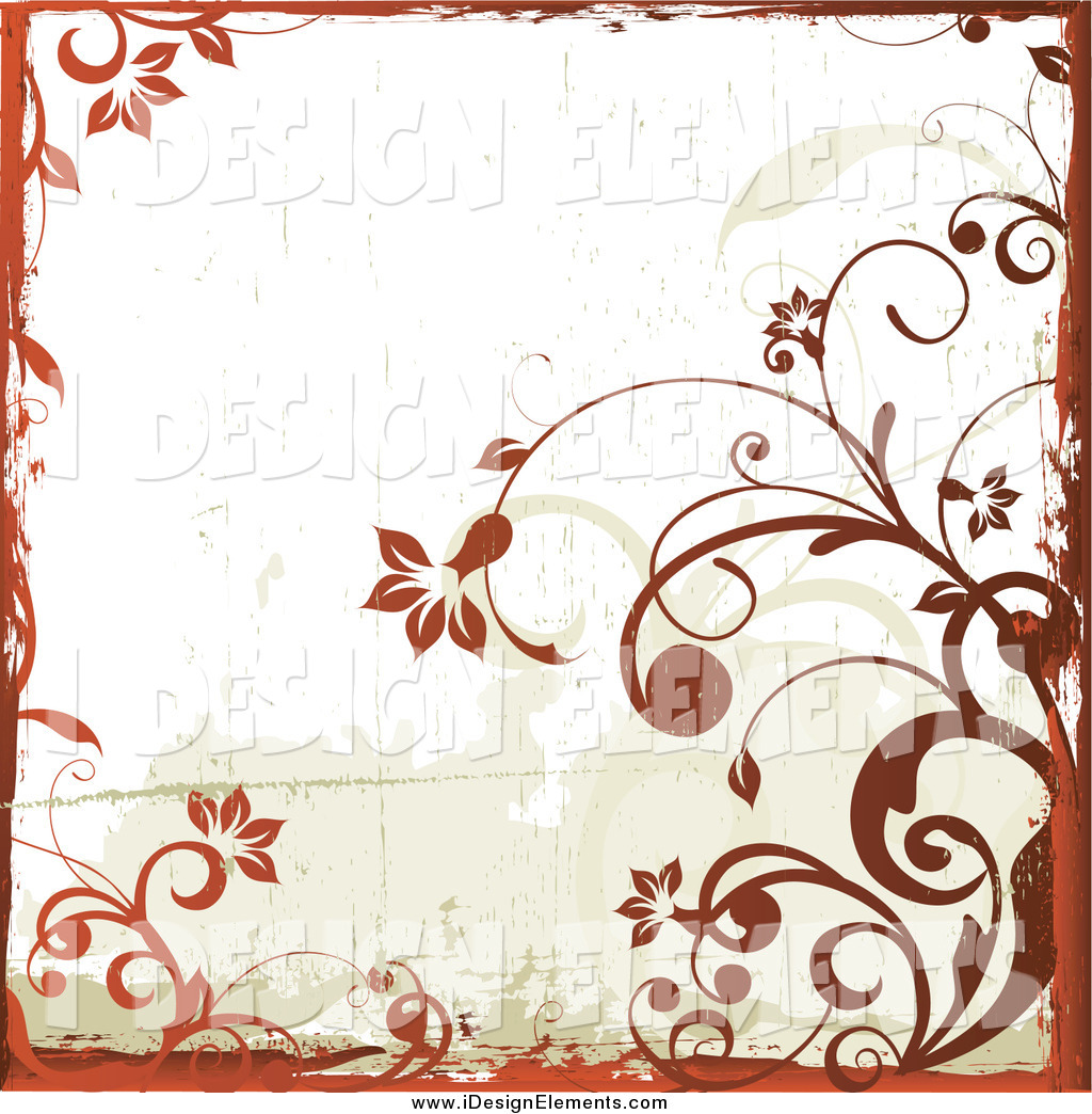 Clip Art of a Grungy Background of Blooming Orange Floral Vines.