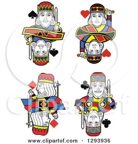 Clipart of Borderless King Playing Card Designs.