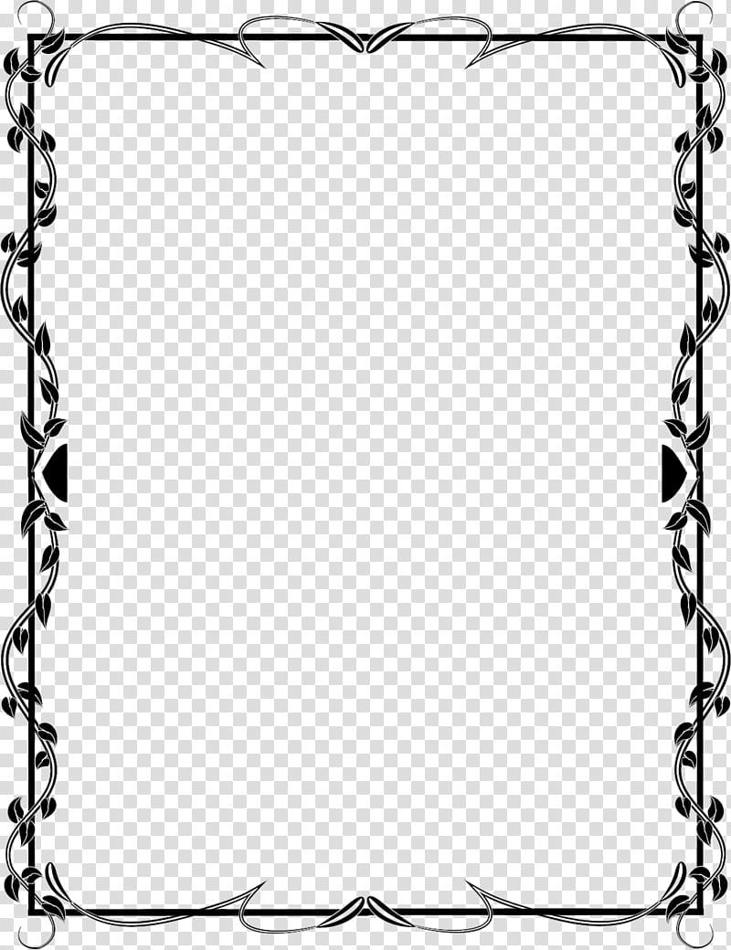 Black floral borderline transparent background PNG clipart.