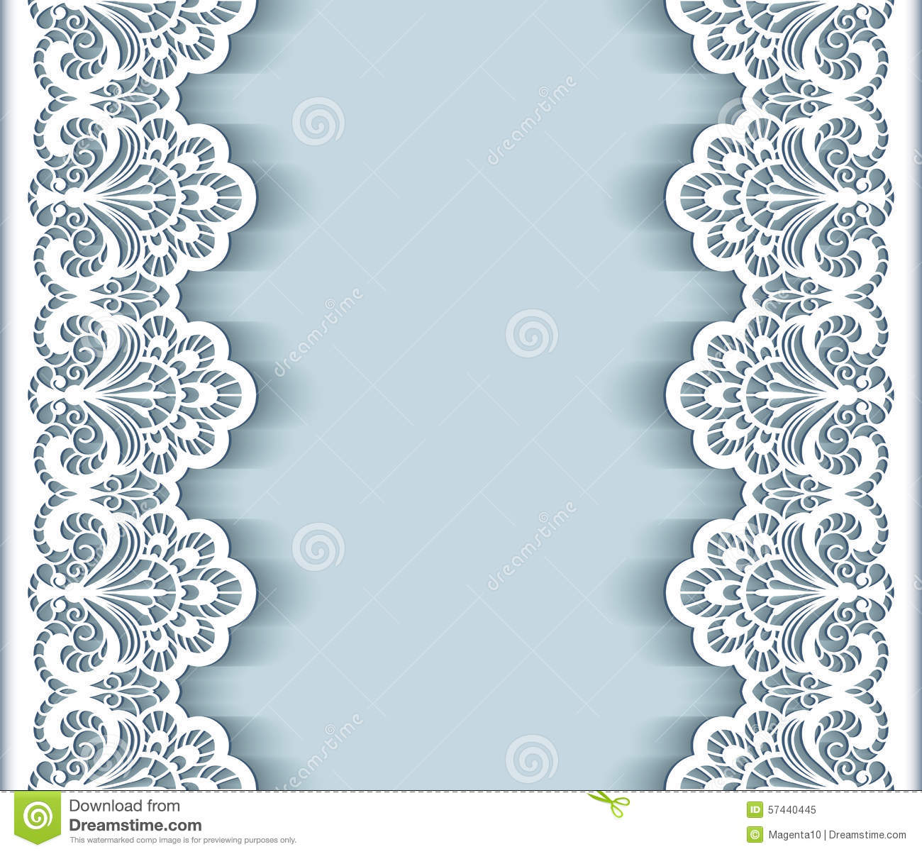 Paper Lace Border Background Stock Vector.