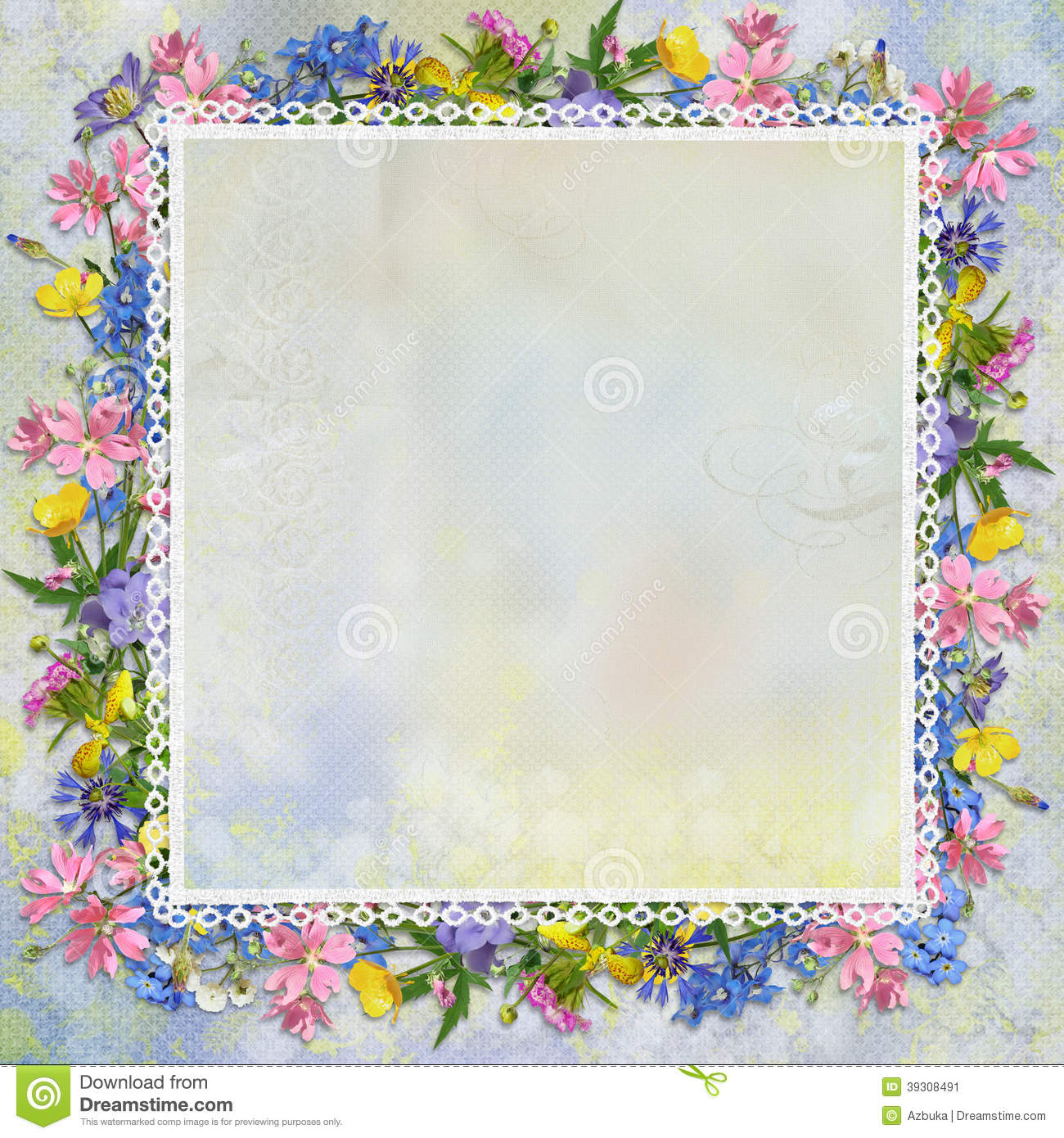 Border Of Flowers On A Gentle Background Stock Illustration.