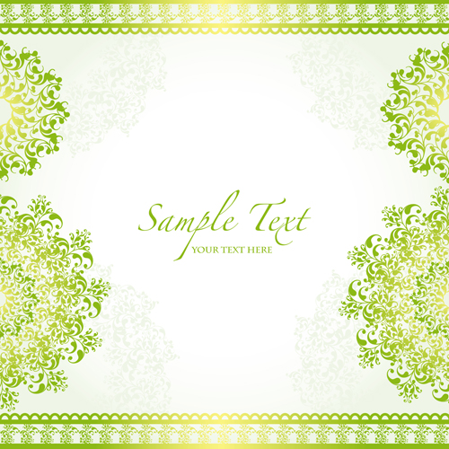 Green border with decor background vector 01.