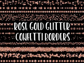 Rose Gold Glitter Confetti Borders and Dividers Clip Art.