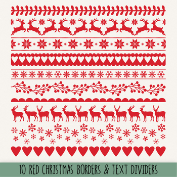 Christmas Borders Clipart. Retro Snowflake, Holiday Ribbon, Text Divider  Clipart.
