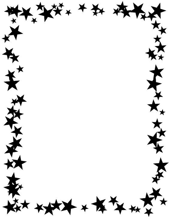 Star border clipart black and white.