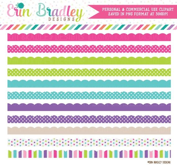 Cotton Candy Scalloped Borders Clipart Commercial Use Clip.