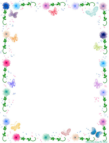 Floral Butterfly Border Stationery.