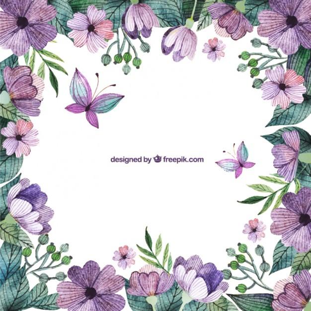 Purple flowers border Vector.
