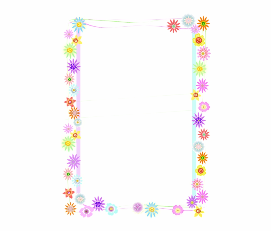 A4 Borde Flores Butterfly Border Clipart.