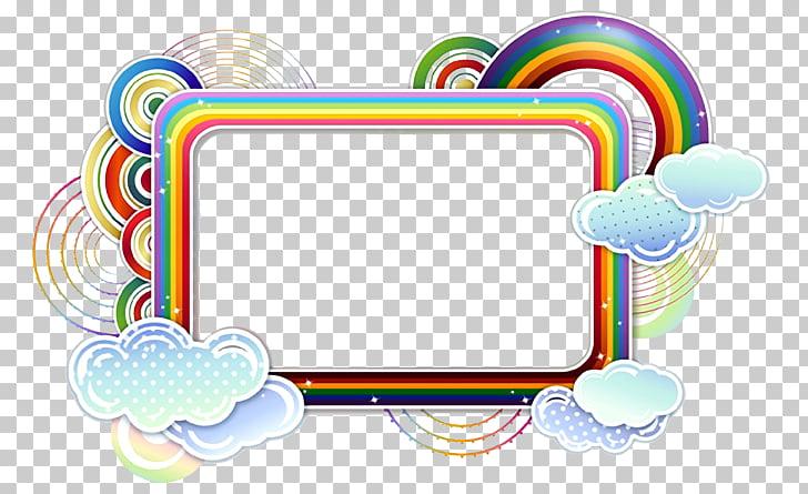 Arte de borde de arco iris, diseño de gráficos de bordes y.