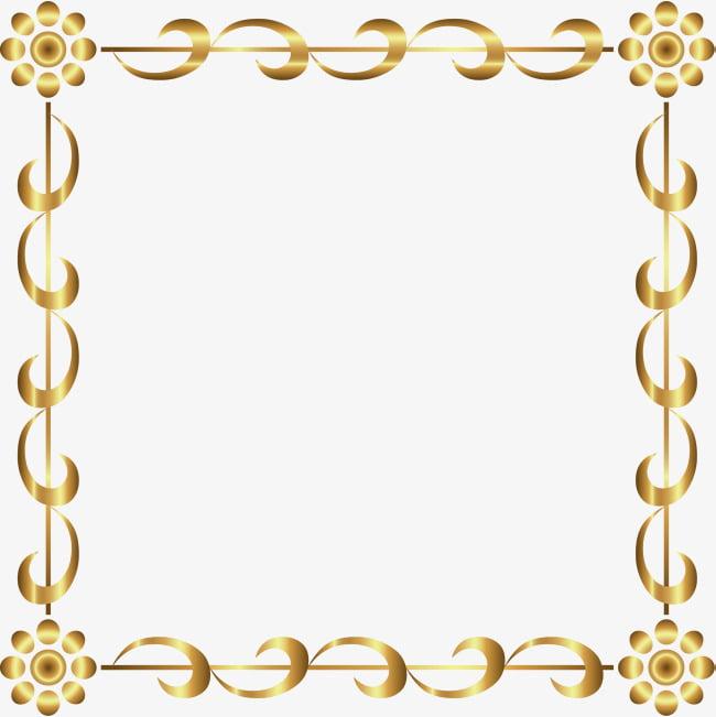Borde dorado de dibujos animados PNG Clipart.