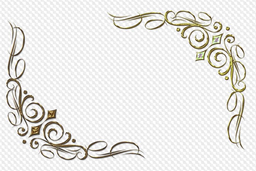 8 PNG, 27 elementos dorados para el diseño en fondo transparente.