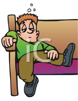 Royalty Free Clipart Image: Bored Kid Slouching in a Church Pew.