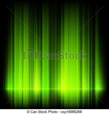 Clip Art Vector of Green northern lights, aurora borealis. EPS 10.