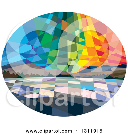 Clipart of a Retro Low Polygon Styled View of Northern Lights or.