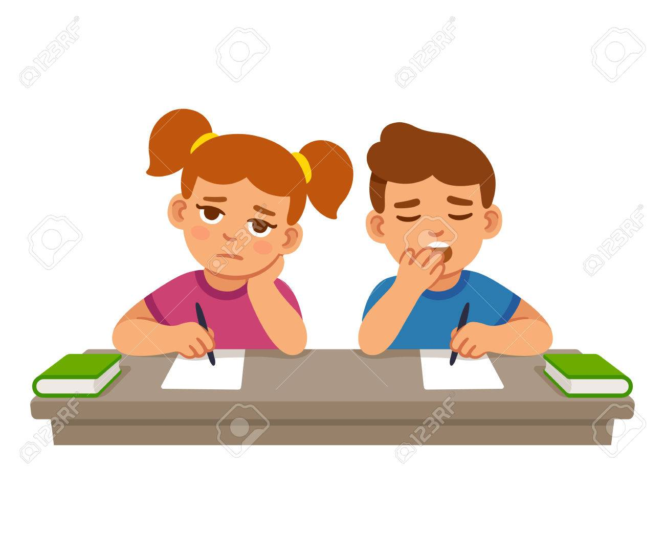 Bored kids at school lesson, boy and girl. Cute cartoon vector...
