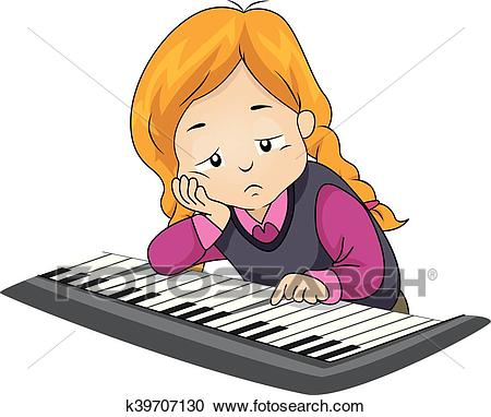 Kid Girl Piano Play Bored Clipart.
