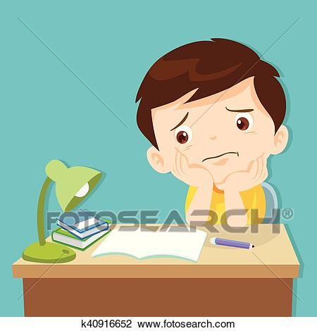 Little cute boy bored homework Clipart.
