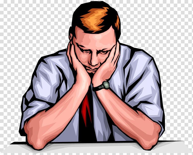 Sad man sitting at the table illustration, Sadness Person Depression.
