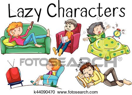 Lazy people doing boring activities Clipart.