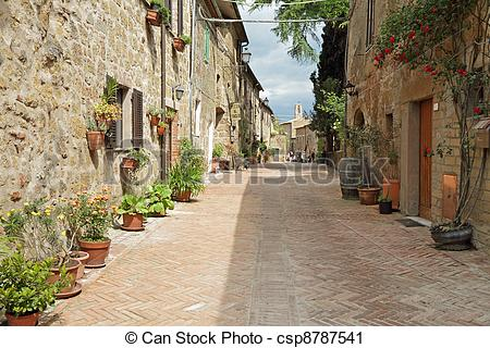 Stock Photography of street paved with brick in old italian borgo.
