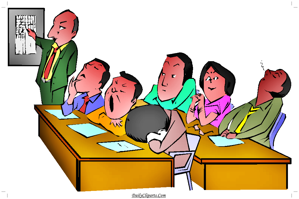Boring Lecture Student Sleeping Yawning Clipart Image.