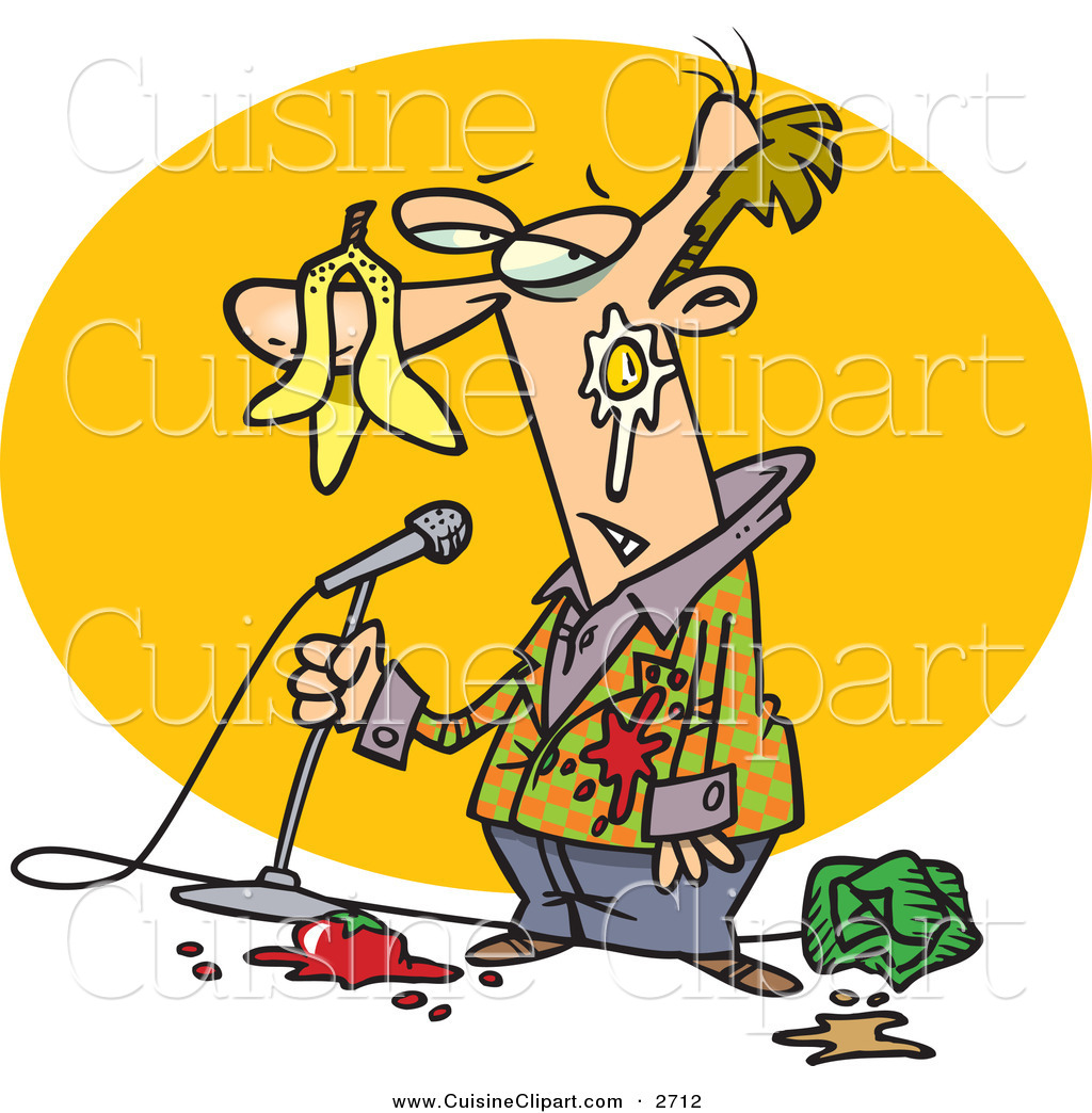 Cuisine Clipart of a Middle Aged Boring Stand up Comedian Man with.