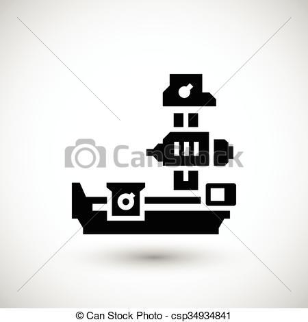 EPS Vector of Horizontal boring machine icon isolated on grey.
