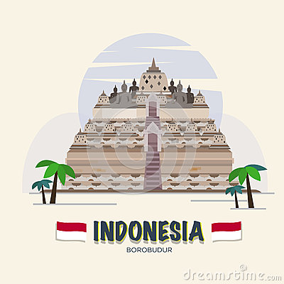 Borobudur Stupa Stock Illustrations.