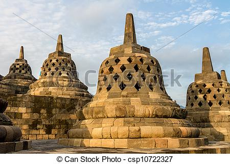 Stock Photo of Borobudur temple stupas, Yogyakarta, Java island.