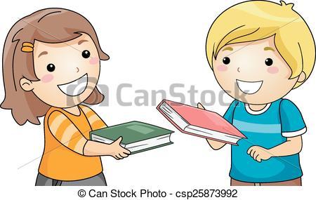 Vector Clip Art of Borrowing books csp23052311.
